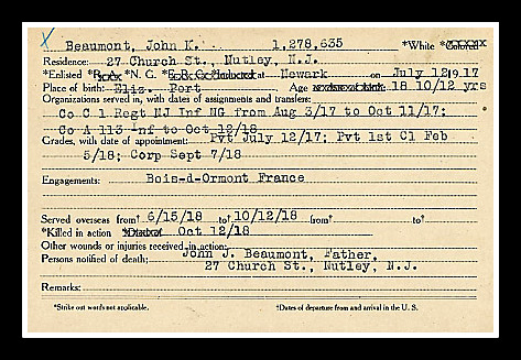 NJ State Archives: John Beaumont, Nutley, WWI,, KIA